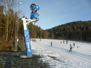 Oslo, Norway. Cross-country skiers practise on artificial snow