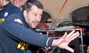 Matteo Salvini at an election campaign rally in Veroli