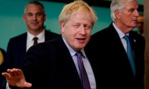 Boris Johnson, centre, with the EU's chief Brexit negotiator Michel Barnier.