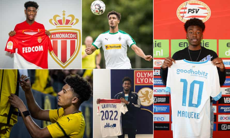 Clockwise from top left: Jonathan Panzo signs for Monaco, Keanan Bennetts of Borussia Mönchengladbach; Noni Madueke is unveiled by PSV Eindhoven; Reo Griffiths signs for Lyon and Jadon Sancho signs autographs for Borussia Dortmund fans.