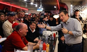 As American as apple pie: Ted Cruz campaigns at Penny's Diner in Missouri Valley, Iowa. Voters in the state have shown little interest in the eligibility question so far.