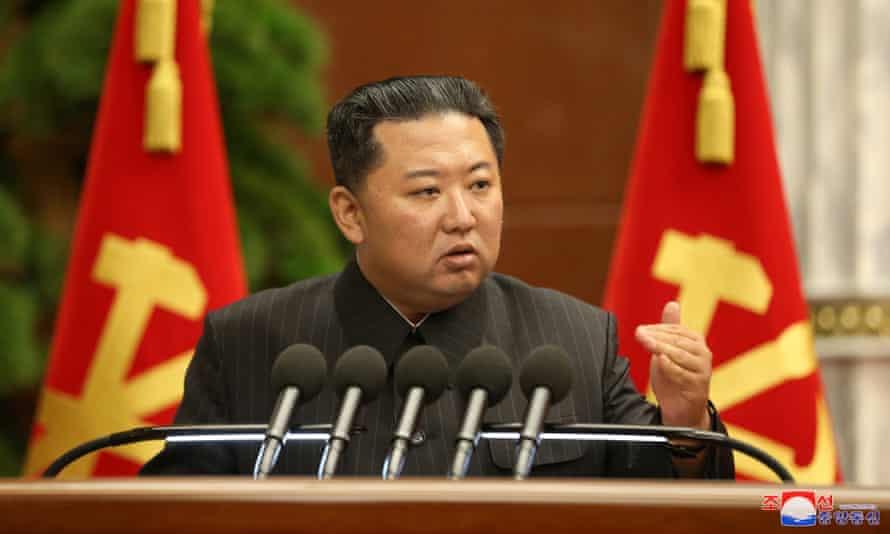 Kim Jong-un at the Politburo meeting