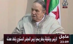 Algeria's president, Abdelaziz Bouteflika, appears on state television to present his letter of resignation.