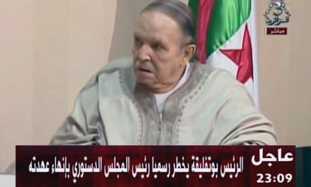 Algeria's president, Abdelaziz Bouteflika, appears on state television to present his letter of resignation.