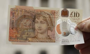 One of the new £10 notes featuring Jane Austen.