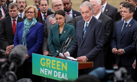 Representative Alexandria Ocasio-Cortez and Senator Ed Markey hold a news conference for their proposed Green New Deal in Washington on 7 February.