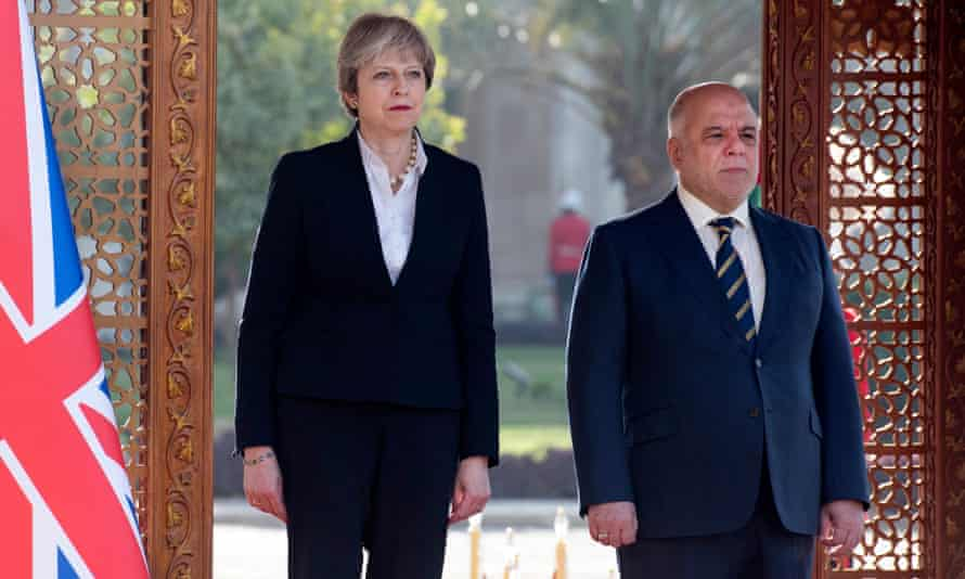 Theresa May visits the Iraqi prime minister Haider al-Abadi in Baghdad on Wednesday