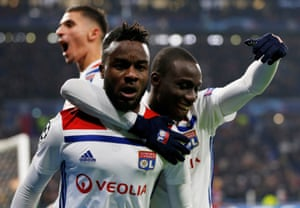 Lyon's Maxwel Cornet celebrates scoring their first goal