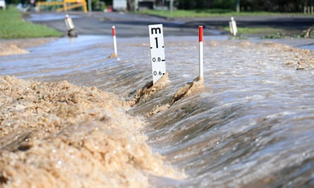 Flood water inundates a road in Dalby, Queensland