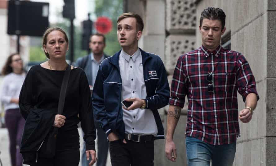 Charlie Alliston, 20 (centre), arrives at the Old Bailey in London
