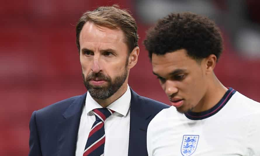 Gareth Southgate and Trent Alexander-Arnold after the Nations League match against Denmark in September.