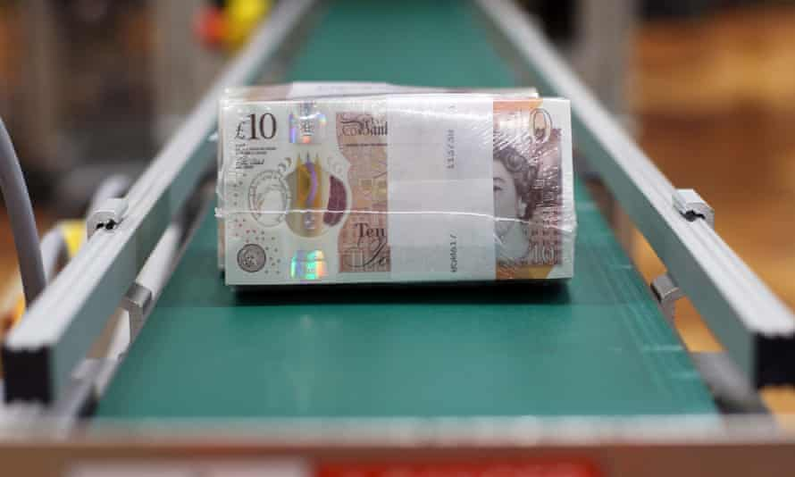 The new £10 note in production.