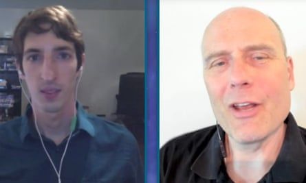 James Damore (left), the former Google engineer, speaks with YouTube personality Stefan Molyneux.