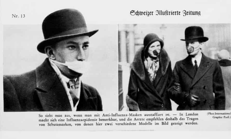 People wearing masks in London illustrated in a German newspaper.