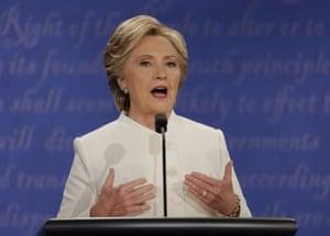 Democratic presidential nominee Hillary Clinton speaks.