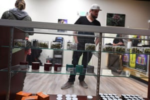 Cannabis products for sale at the Green Pearl Organics dispensary on 1 January, the first day of legal recreational marijuana sales in California.