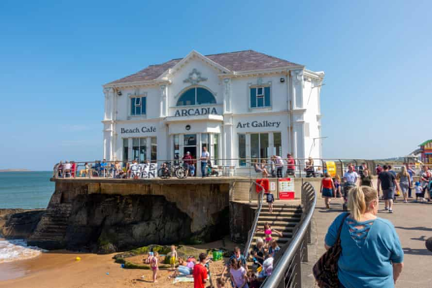 Cafe and art gallery on the seafront, Portrush, Northern Ireland. UK.