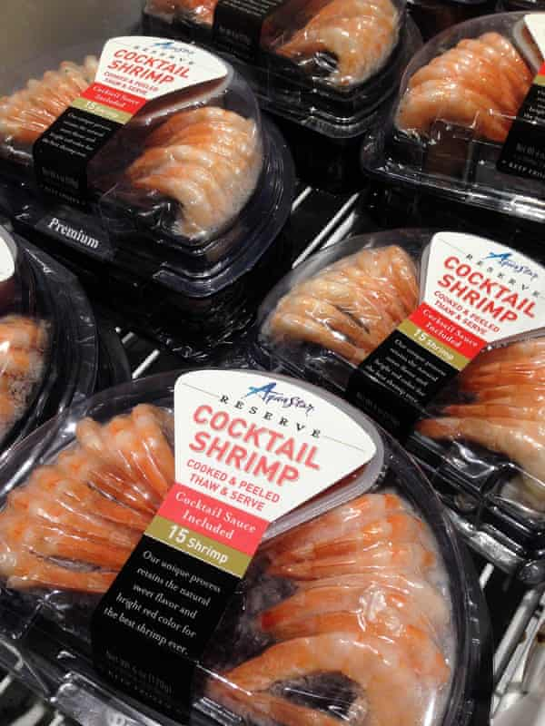 """Shrimp products from Thailand packaged under the name """"Aqua Star"""" at a grocery store in Phoenix, Arizona"""