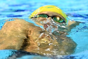 Mitch Larkin of Australia competes during the Men's 100m Backstroke Final