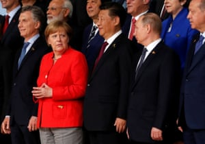 Merkel, Xi and Putin before the official group photo.