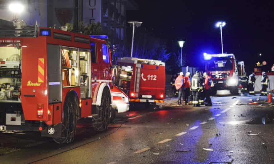 Emergency services at scene of collision between car and pedestrians in Lutago, northern Italy