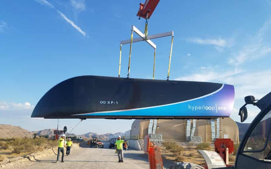 A Hyperloop One test vehicle is transported at a DevLoop track in the Nevada Desert in May 2017.