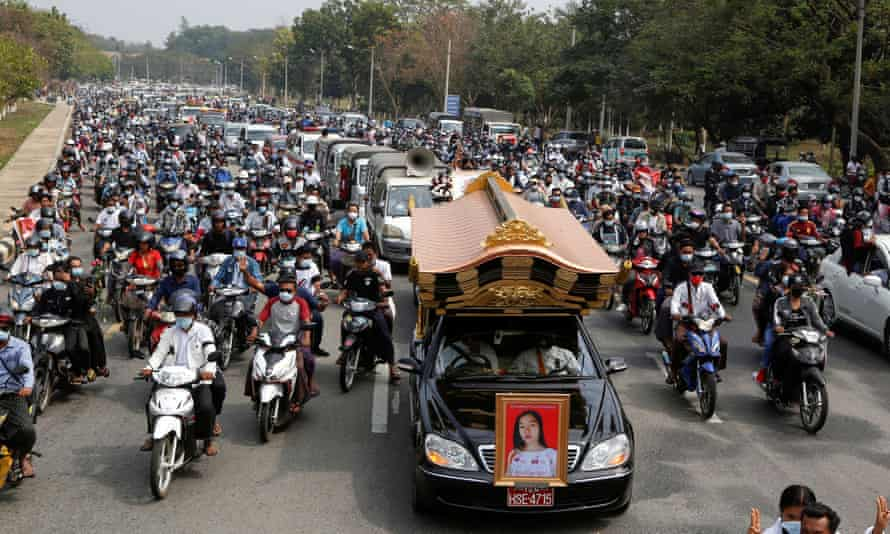 Hundreds attend the funeral in Naypyitaw of Mya Thwate Thwate Khaing, a young female protester who became the first death among anti-coup demonstrators.