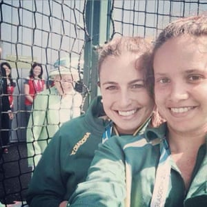 The selfie that quickly became a meme. Hockeyroo, Jayde Taylor's selfie with team mate Brooke Peris had a very royal photobomb in the background.