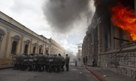 Flames shoot out from the Congress building in Guatemala City.