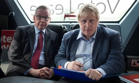 Michael Gove (left) and Boris Johnson on the Vote Leave bus