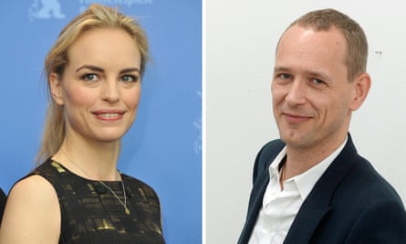 Composite: Nina Hoss at the 61st Berlin International Film Festival and German artist Christian Jankowski at a press conference in Zurich