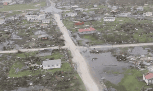 A screengrab from ABS TV showing the damage caused by Hurricane Irma in Barbuda.