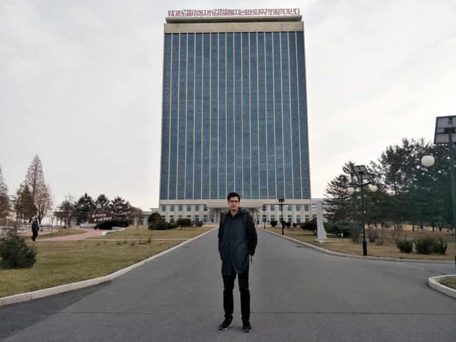 Alek Sigley, the Australian student reportedly arrested, outside the foreign student dormitory at Kim Il Sung University in Pyongyang, North Korea.