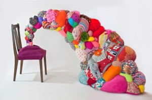 Hoda Zarbaf, Vaginal Rapture, 2014. Old furniture, recycled clothes, found objects, fiber stuffing (machine and hand-stitched), 222x116x118 cm.