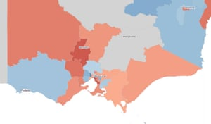 Two-party-preferred swing by electorate, showing Victoria