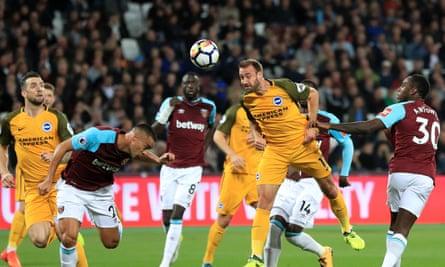 Brighton's Glenn Murray scores the opening goal against West Ham.