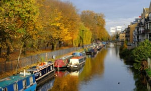 Canalside homes along Hertford Union Canal by Victoria Park in Hackney
