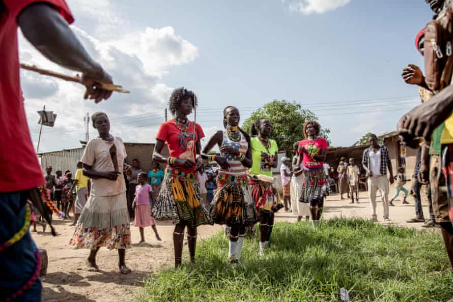 Young people from the Lopit tribe perform traditional dances at a wedding in Gumbo on the outskirts of Juba