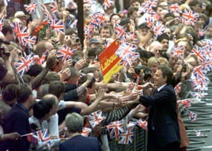 Tony Blair greets crowds after Labour's election victory in 1997.