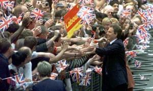 Tony Blair celebrates election victory in 1997