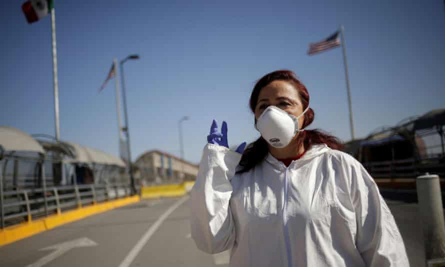 Susana Prieto, a lawyer and labour activist, pictured at the Paso del Norte international border crossing bridge in Ciudad Juárez, Mexico, in May.