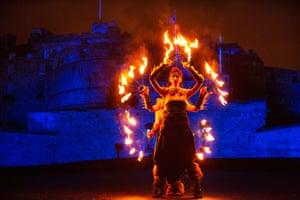 One of the performers at the torchlight procession