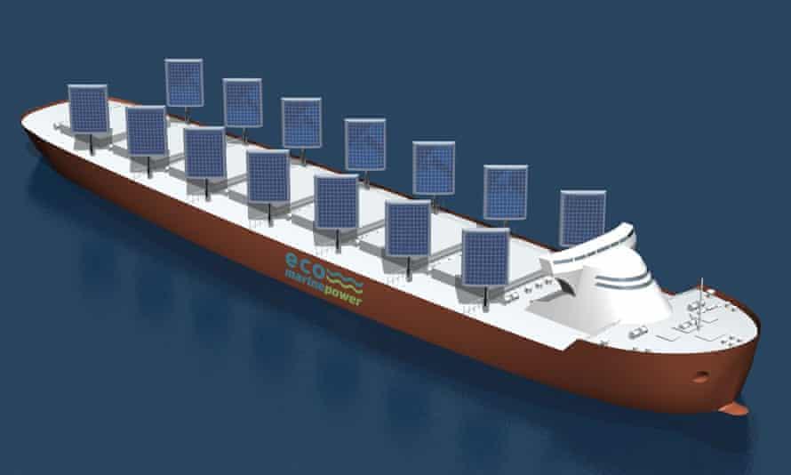 The Aquarius Eco Ship concept design incorporates the innovative solar and wind power.