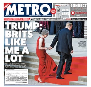 Metro front page, Friday 13 July.