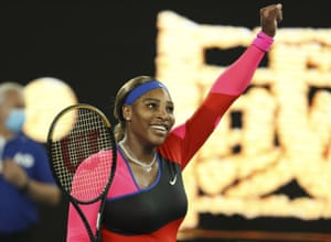 Serena Williams celebrates after defeating Romania's Simona Halep.