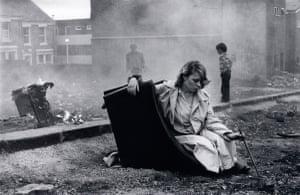 Karen on overturned chair, 1980.
