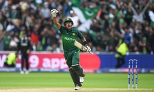 Babar Azam of Pakistan celebrates after scoring a century.