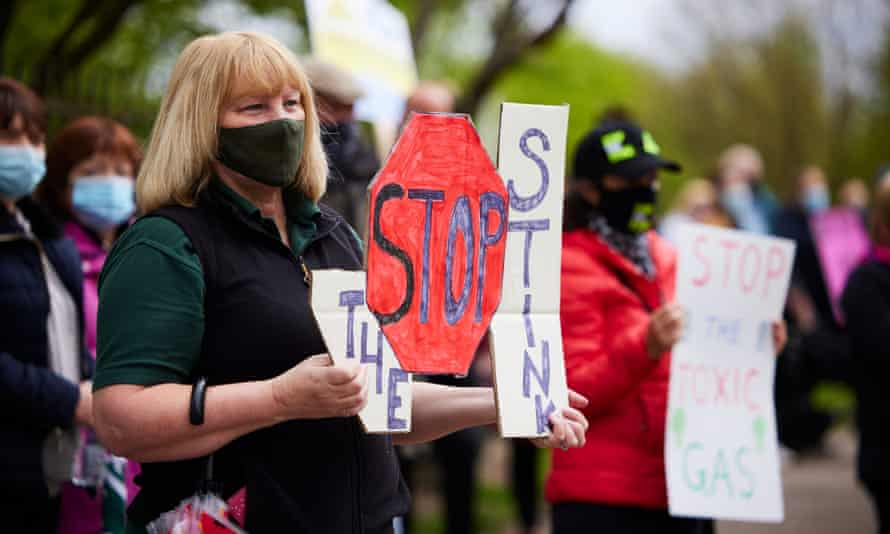 Residents protest outside Walleys Quarry landfill site in Silverdale, Staffordshire.