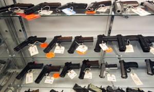 Handguns on display in Milford, Michigan.