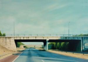 A Bridge Too Far motoway bridge painting by artist Jen Orpin.